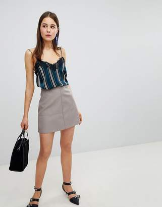 New Look Leather Look Mini Skirt