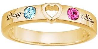 "Personalized Planet Jewelry Sterling Silver with 18kt Gold Overlay Couple's ""You Have My Heart"" Name and Birthstone Band"