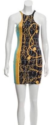 Jeremy Scott Racerback Printed Dress w/ Tags Gold Racerback Printed Dress w/ Tags