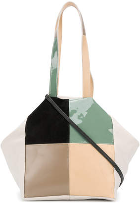 Carmina Campus colour-block patch tote