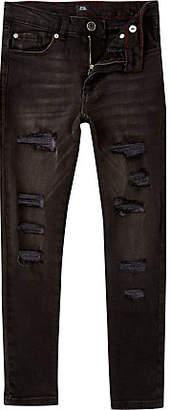 River Island Boys black wash Danny skinny ripped jeans