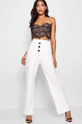 boohoo Contrast Stitch & Button Wide Leg Trouser