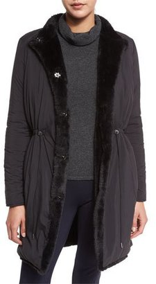Elie Tahari Berit Reversible Faux-Fur Trimmed Coat $598 thestylecure.com