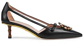 Gucci Women's Crystal-Logo Leather Pumps - Black