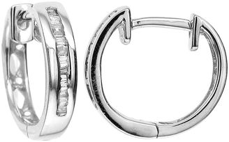 FINE JEWELRY LIMITED QUANTITIES 1/10 CT. T.W. Diamond 10K White Gold Hoop Earrings $625 thestylecure.com