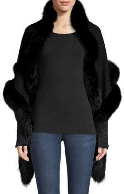 Sofia Cashmere Women's Sequin Fox Fur-Trim Cashmere& Silk Shawl - Black Silver