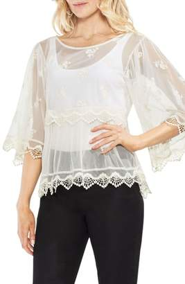 Vince Camuto Lace Trim Tiered Mesh Top