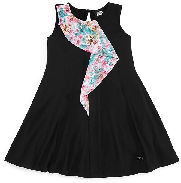 Armani Junior Armani Junior Girls' Mesh Ruffle Dress - Sizes 7-16