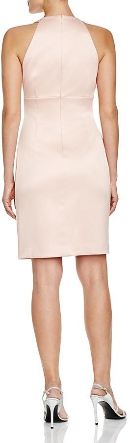Eliza J Beaded Neck Satin Sheath Dress 2