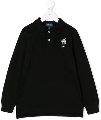 Ralph Lauren Kids skiing bear embroidered polo shirt