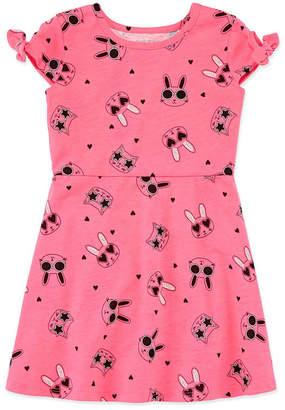 Okie Dokie Short Sleeve Skater Dress - Toddler Girls