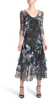 Komarov Floral Tiered Hem Chiffon Dress
