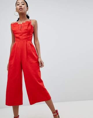 deaa3cedf35e Asos Design DESIGN Structured Jumpsuit With Culotte Leg And Pleated Bodice