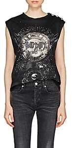 Balmain Women's Constellation-Print Cotton Jersey Muscle Tank-Black