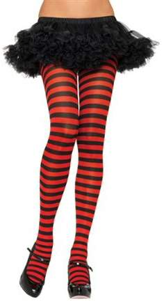 Women's Plus-Size Nylon Striped Tights, Black/Red, 3X-4X