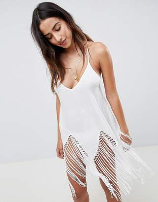 Asos Design DESIGN Macrame Fringe Beach Cover Up