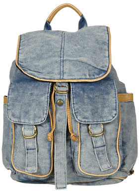 Topshop Blue Acid Wash Backpack