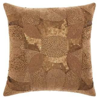Nourison Luminecence Antique Beading Light Gold Throw Pillow