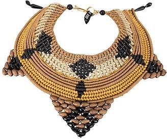 Afroditi Hera contrast woven necklace