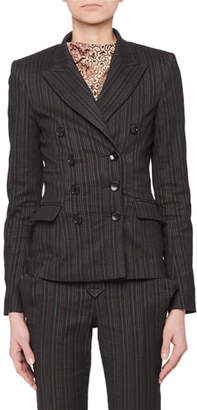 Isabel Marant Kyla Double-Breasted Fitted Pinstripe Blazer