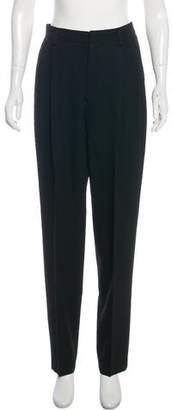 Ellen Tracy Linda Allard High-Rise Straight-Leg Wool Pants