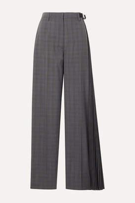 Prada Pleated Checked Wool-blend Wide-leg Pants - Gray
