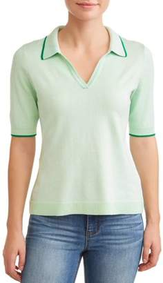 N. Heart Crush Women's Short Sleeve Polo Sweater