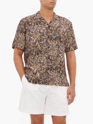 Everest Isles - Oil Spill Print Cuban Collar Shirt - Mens - Grey