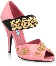 Prada Bracelet-Strap Embellished Satin Peep Toe Pumps