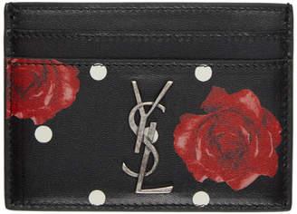 Saint Laurent Black Floral Monogram Card Holder