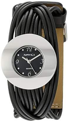 Nemesis Women's NS215K Black Tangled Series Leather Band Analog Display Japanese Quartz Black Watch