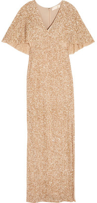 Alice + Olivia Alice Olivia - Krystina Sequined Tulle Gown - Gold $1,295 thestylecure.com