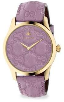 Gucci G-Timeless Gold PVD Case 38MM Pastel Purple Leather Strap Watch