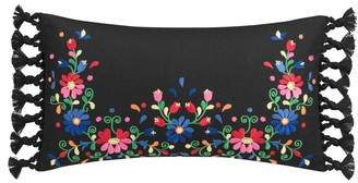 Folk Floral Embroidered Pillow