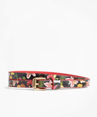 Brooks Brothers Tropical-Print Skinny Leather Belt