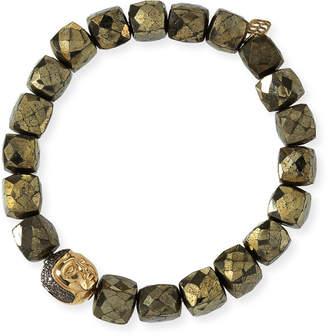 Sydney Evan 8mm Cubed Pyrite Beaded Bracelet w/ 14k Diamond Buddha Bead