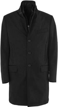 Fay Double Coat In Black High-tech Fabric.