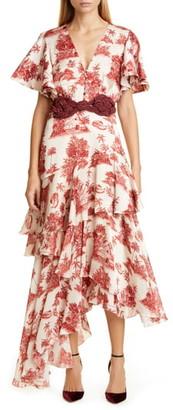 Johanna Ortiz Toile Palm Print Asymmetrical Georgette Midi Dress