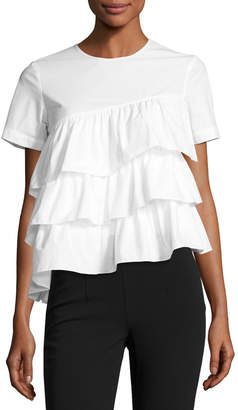 Co Short-Sleeve Tiered Ruffle Top, White