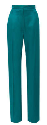 Carolina Herrera High Waisted Straight Leg Satin Suit Pants