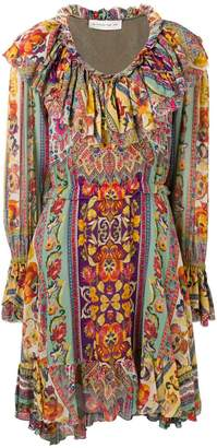 Etro ruffled neck floral dress