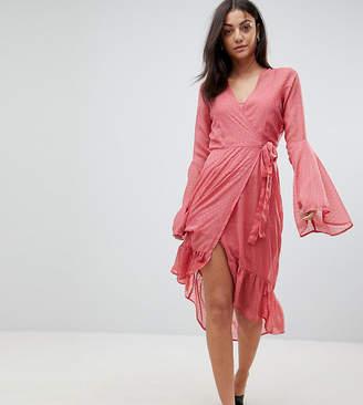 Vero Moda Tall dobby spot mini wrap dress with fluted sleeves