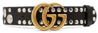 Gucci Studded leather belt with Double G buckle