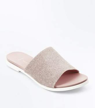 New Look Wide Fit Rose Gold Glitter Mules