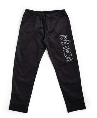 DÃMOS - Demos Black Big Logo Embroidered Corduroy Trousers