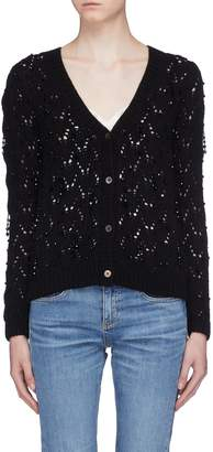 Co Strass wool-cashmere open knit cardigan