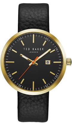 Ted Baker レザーベルト デイト ラウンドウォッチ フェイス:ブラック ベルト:ブラック