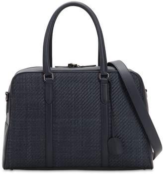 Ermenegildo Zegna Denim Effect Woven Leather Bag