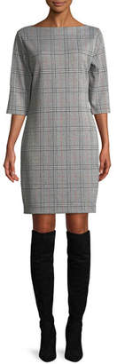 Joan Vass High Boat-Neck 3/4-Sleeve Stretch-Plaid Sheath Dress, Plus Size
