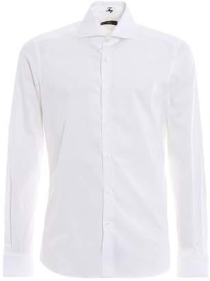 Fay White Stretch Cotton Poplin Shirt